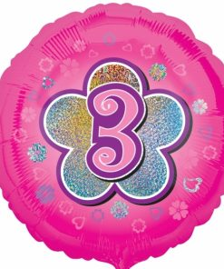 """Pink Flowers 3rd Birthday 18""""  Helium filled Foil Balloon"""