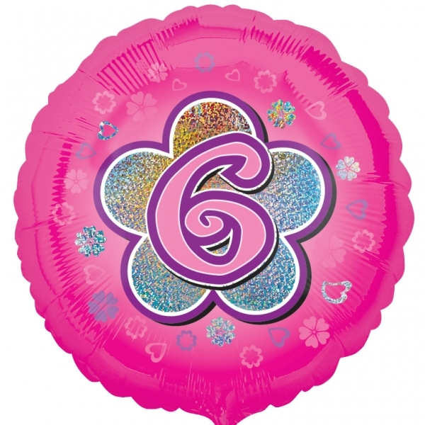 """Pink Flowers 6th Birthday 18""""  Helium filled Foil Balloon"""