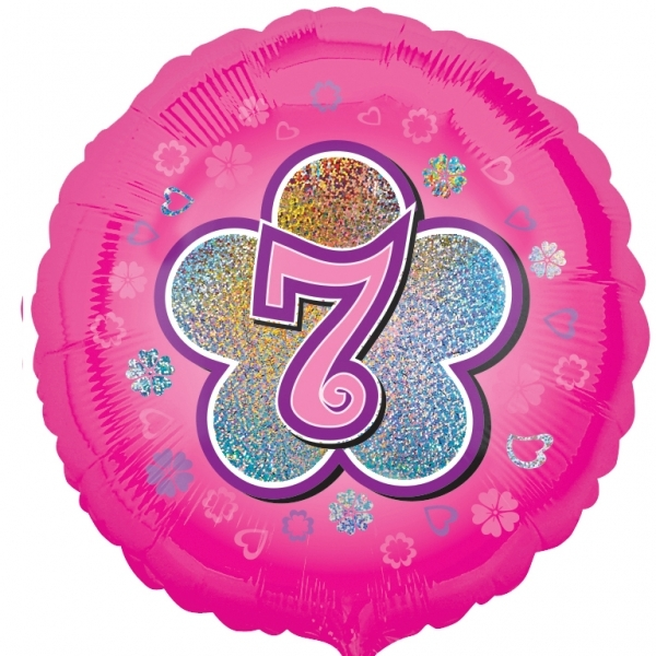 """Pink Flowers 7th Birthday 18""""  Helium filled Foil Balloon"""