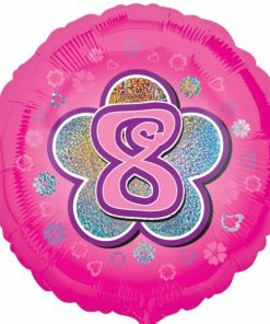 "Pink Flowers 8th Birthday 18""  Helium filled Foil Balloon"