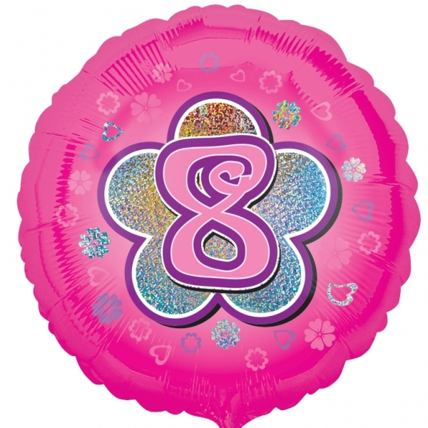 """Pink Flowers 8th Birthday 18""""  Helium filled Foil Balloon"""