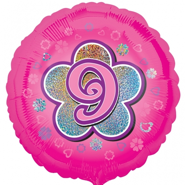 "Pink Flowers 9th Birthday 18""  Helium filled Foil Balloon"