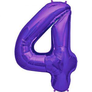 Purple number 4 foil balloon.