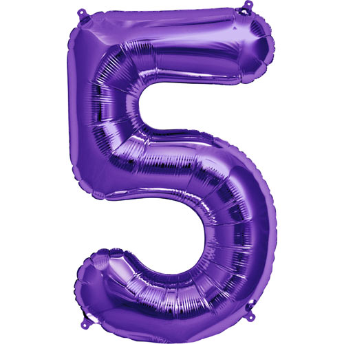 Purple number 5 foil balloon.