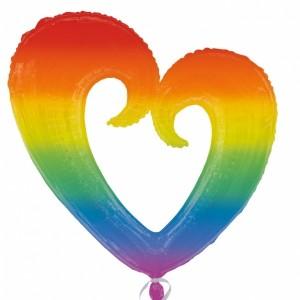 Rainbow Open Heart Supershape Helium Filled Foil Balloon