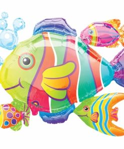 Tropical Fish Cluster Supershape Helium Filled Foil Balloon