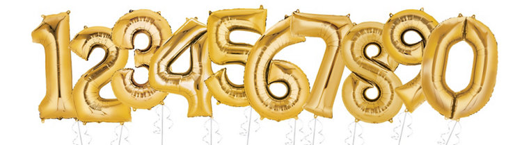 Gold number inflated helium balloons
