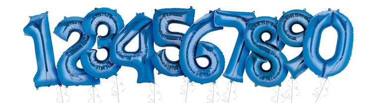 blue number helium inflated balloons