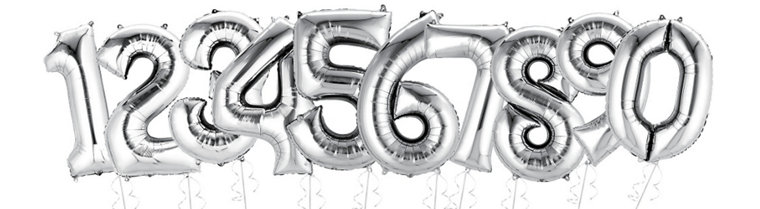silver number supershape balloons