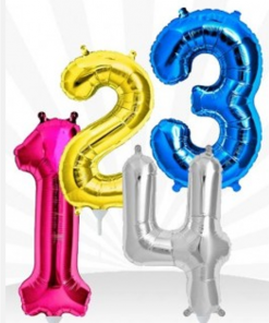 Number Shape Foil Helium inflated Balloons