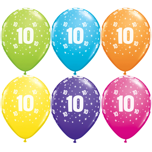 """10 10th Birthday 11"""" Helium Filled Balloons"""