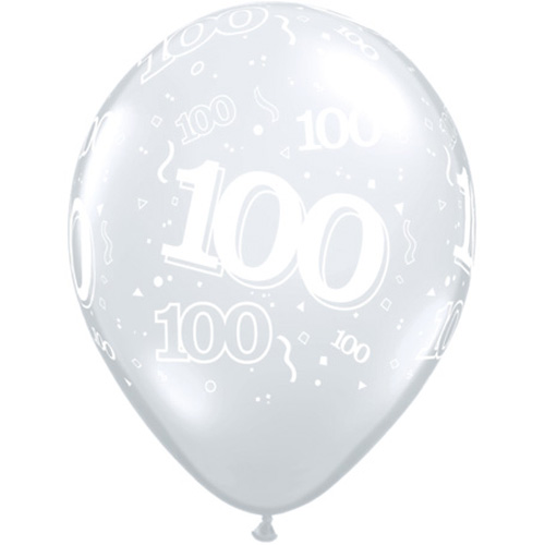 "10 100th Birthday Clear 11"" Helium Filled Balloons"