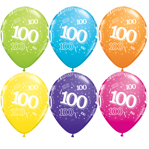 "10 100th Birthday Assorted Coloured 11"" Helium Filled Balloons"