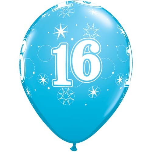 "10 16th Birthday 11"" Blue  Helium Filled Balloons"