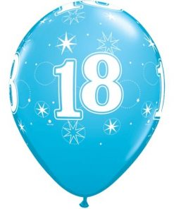 "10 18th Birthday 11"" Blue  Helium Filled Balloons"