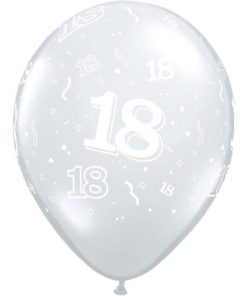 "10 18th Birthday 11"" Clear  Helium Filled Balloons"