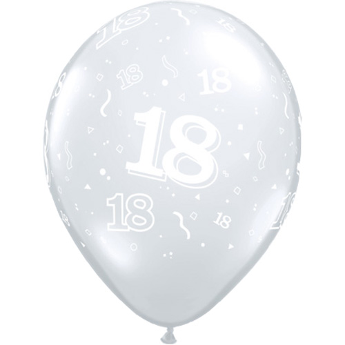"""10 18th Birthday 11"""" Clear  Helium Filled Balloons"""