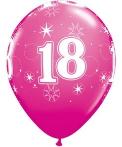 "10 18th Birthday 11"" Pink  Helium Filled Balloons"