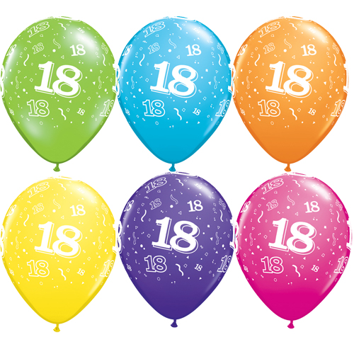 "10 18th Birthday Assorted Coloured 11"" Helium Filled Balloons"