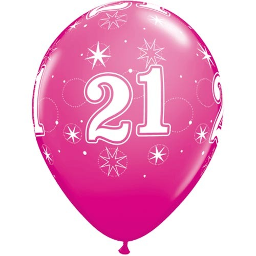 """10 21st Birthday Pink  11"""" Helium Filled Balloons"""