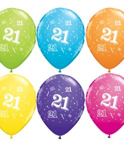 "10 21st Birthday Assorted Coloured 11"" Helium Filled Balloons"