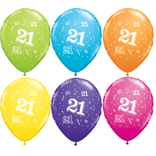 """10 21st Birthday Assorted Coloured 11"""" Helium Filled Balloons"""