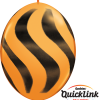 10 Orange & Black Wavy Stripes  helium filled linking balloons