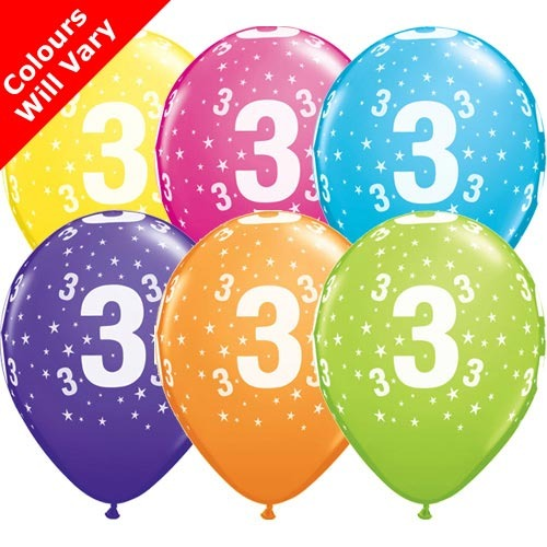 "10 3rd Birthday 11"" Helium Filled Balloons"