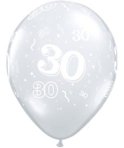 "10 30th Birthday 11"" Clear  Helium Filled Balloons"