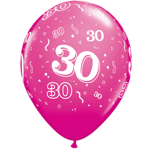 """10 30th Birthday 11"""" Pink  Helium Filled Balloons"""