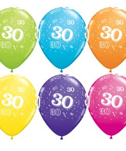 "10 30th Birthday Assorted Coloured 11"" Helium Filled Balloons"
