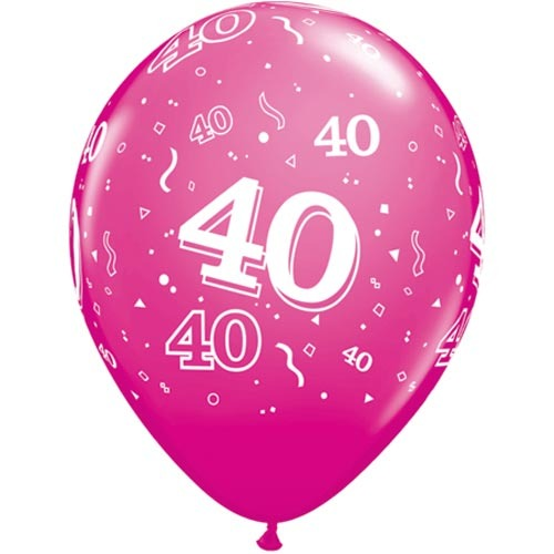"""10 40th Birthday 11"""" Pink  Helium Filled Balloons"""