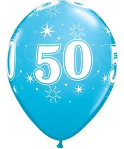"""10 50th Birthday Blue 11"""" Helium Filled Balloons"""