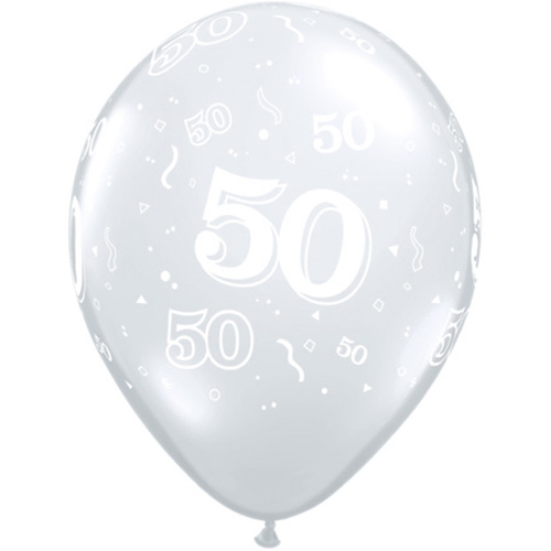 "10 50th Birthday 11"" Clear  Helium Filled Balloons"