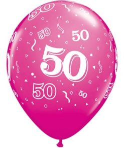 """10 50th Birthday Pink 11"""" Helium Filled Balloons"""