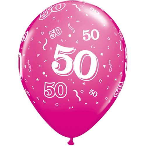 "10 50th Birthday Pink 11"" Helium Filled Balloons"