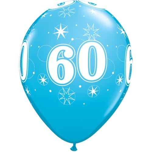 """10 60th Birthday Blue 11"""" Helium Filled Balloons"""