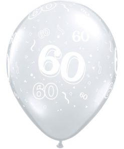 """10 60th Birthday Clear 11"""" Helium Filled Balloons"""