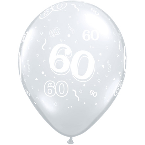 "10 60th Birthday Clear 11"" Helium Filled Balloons"