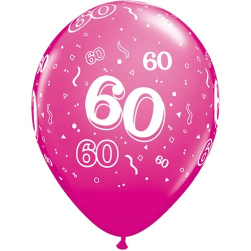 """10 60th Birthday Pink 11"""" Helium Filled Balloons"""