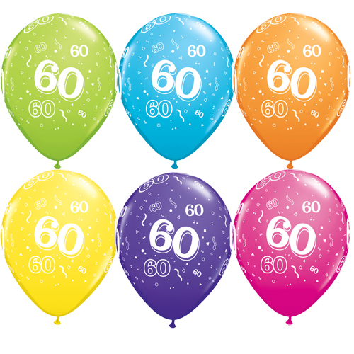 "10 60th Birthday Assorted Coloured 11"" Helium Filled Balloons"