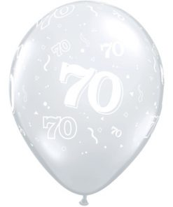 """10 70th Birthday Clear 11"""" Helium Filled Balloons"""
