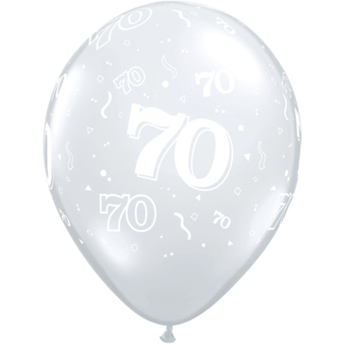 "10 70th Birthday Clear 11"" Helium Filled Balloons"