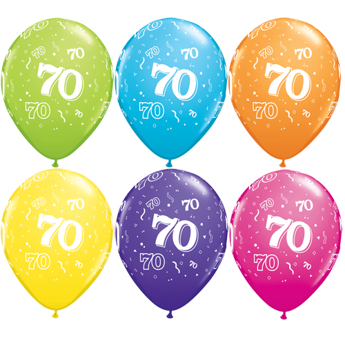 "10 70th Birthday Assorted Coloured 11"" Helium Filled Balloons"