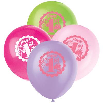 8 1st Birthday Pink Safari Pack of 8 Latex balloons at London Helium Balloons