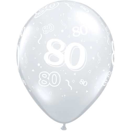 """10 80th Birthday Clear 11"""" Helium Filled Balloons"""
