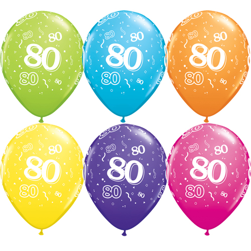 "10 80th Birthday Assorted Coloured 11"" Helium Filled Balloons"