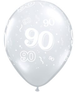 "10 90th Birthday Clear 11"" Helium Filled Balloons"