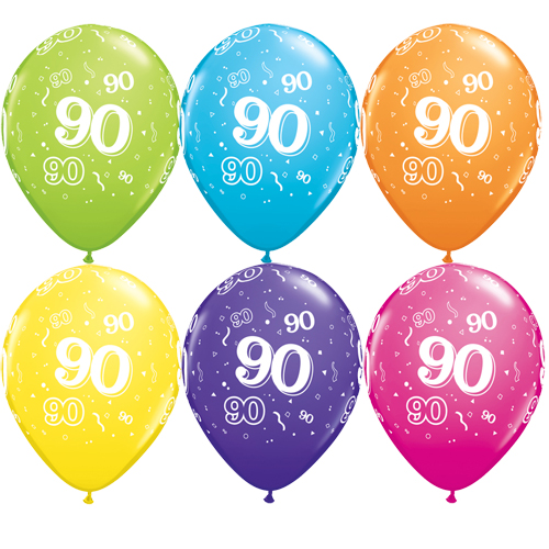 "10 90th Birthday Assorted Coloured 11"" Helium Filled Balloons"