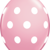 10 Pink Big Polka Dots  helium filled linking balloons
